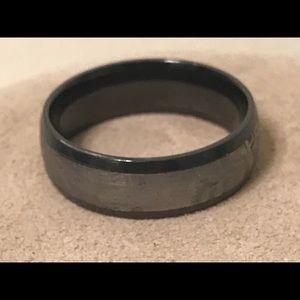 LASHBROOK Zirconium Meteorite Black Wedding Ring